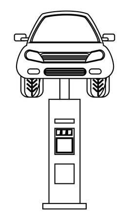 Car on car lifting machine over white background vector illustration