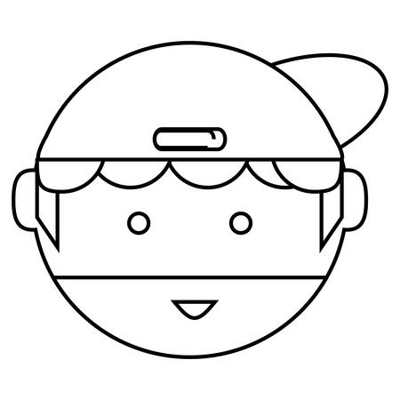 Cartoon man wearing a cap icon over white background vector illustration
