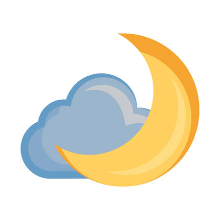 Moon and cloud cartoon vector illustration.