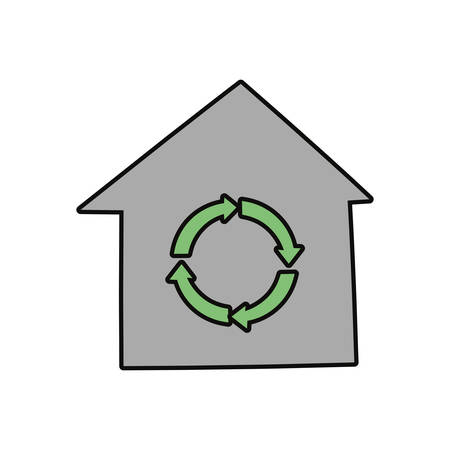 Recycle house symbol cartoon vector illustration graphic icon.