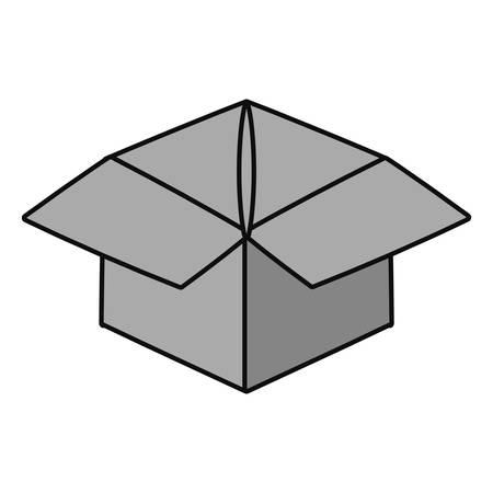 Delivery box open cartoon vector illustration graphic icon. Vectores