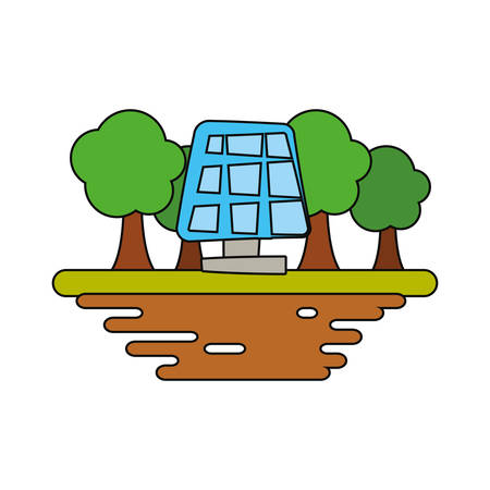 Solar panel on ground cartoon vector illustration graphic icon