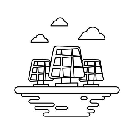Solar panels on ground cartoon vector illustration graphic icon Illustration