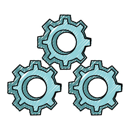 Gears machinery pieces cartoon