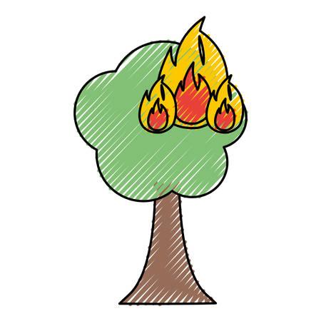 Burning tree cartoon