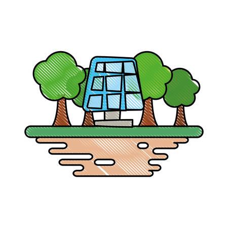 Solar panel on ground cartoon