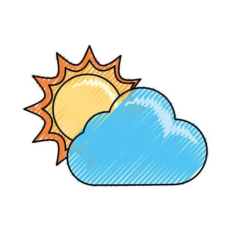 Sun and cloud cartoon vector illustration.