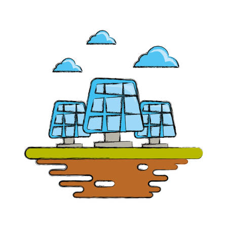 Solar panels on ground cartoon vector illustration.