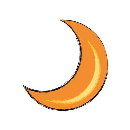 Moon quarter waning cartoon vector illustration.