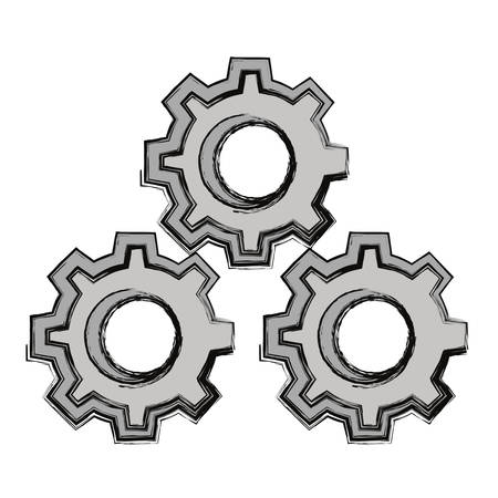 Gears machinery pieces cartoon vector illustration. Illustration