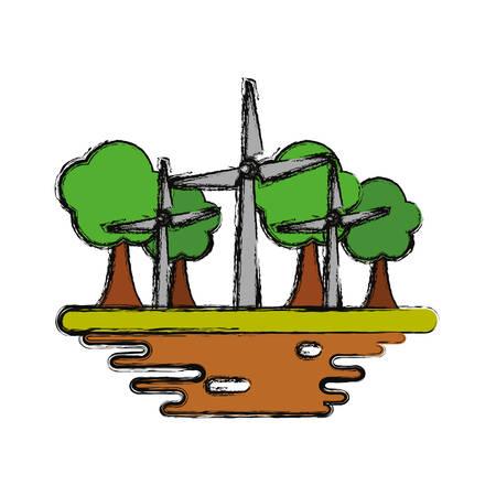 Wind turbines on ground cartoon
