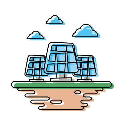 Solar panels on ground cartoon vector illustration graphic icon Çizim