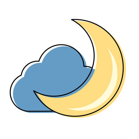 Moon and cloud cartoon vector illustration graphic icon. Illustration