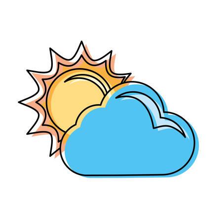 Sun and cloud cartoon vector illustration graphic icon.