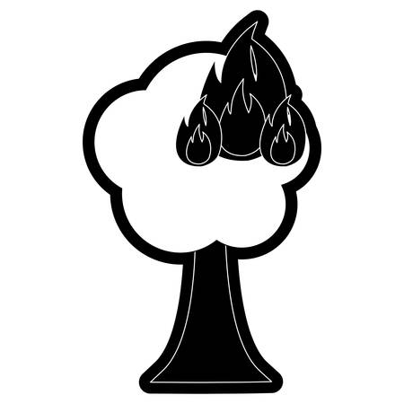 Burning tree cartoon icon.