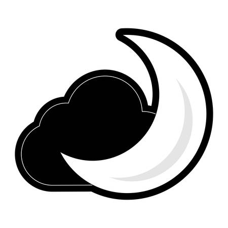 Moon and cloud cartoon vector illustration graphic icon. Illusztráció