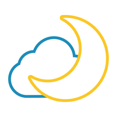 Moon and cloud cartoon vector illustration graphic icon