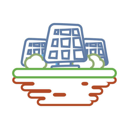 Solar panels on ground cartoon vector illustration graphic icon.