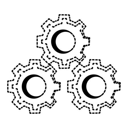 Gears machinery pieces cartoon vector illustration graphic icon