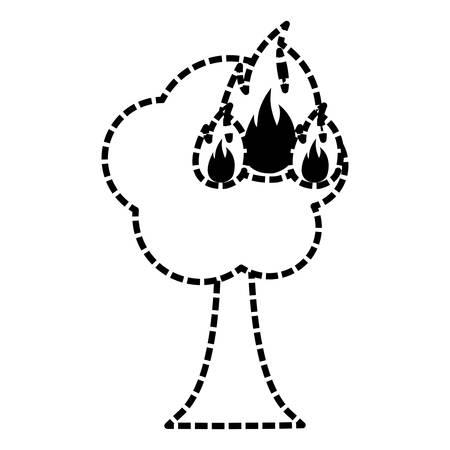 Burning tree cartoon vector illustration graphic icon Illustration