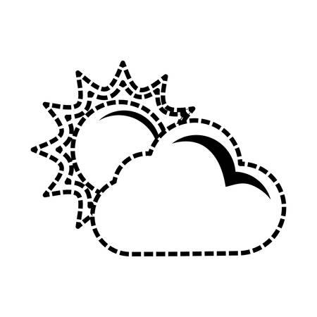 Sun and cloud cartoon vector illustration graphic icon