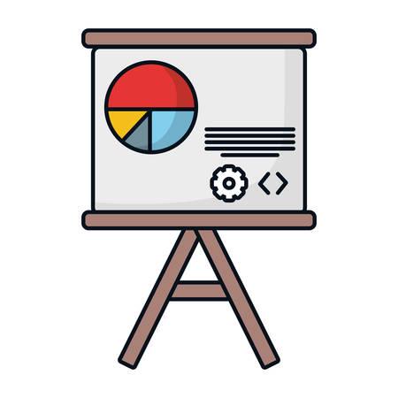 Statistics on whiteboard icon vector illustration graphic design Illustration