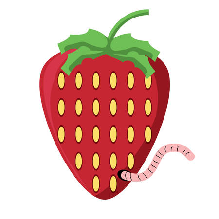 strawberry with a worm over white background colorful design vector illustration