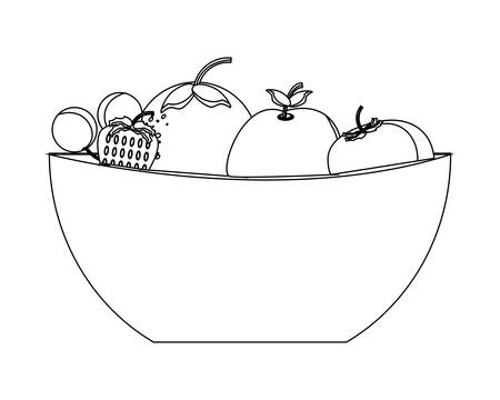 bowl with healthy fruits over white background vector illustration