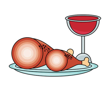 Wine glass and dish with ham legs icon over white background. Colorful design vector illustration.