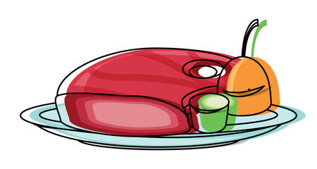 plate with meat and vegetables  icon over white background colorful design vector illustration Illustration