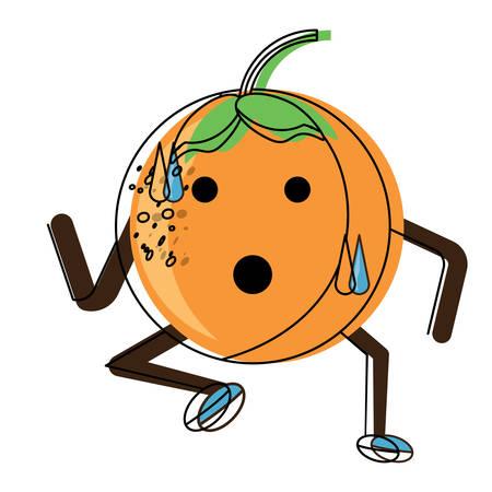 orange running icon over white background colorful design vector illustration