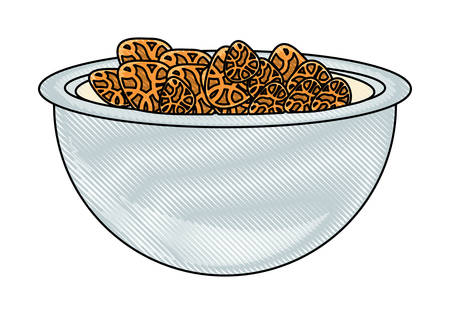 Bowl with cereal icon over white background, colorful design, vector illustration
