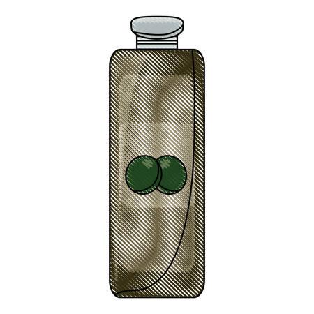 olive oil bottle icon over white background colorful design vector illustration Ilustração