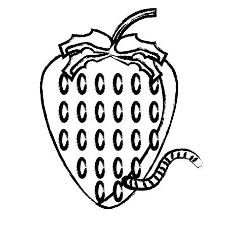 strawberry with a worm over white background vector illustration