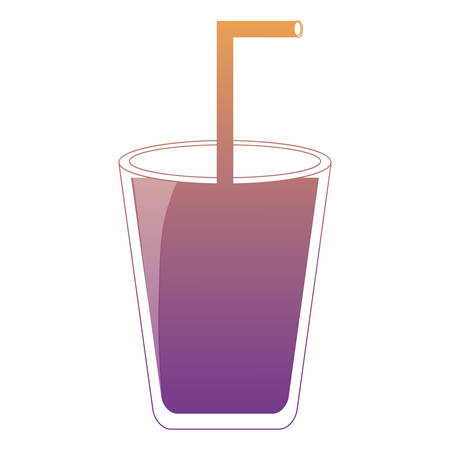 glass with straw icon over white background colorful design  vector illustration