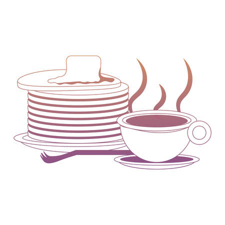 coffee mug and pancakes with butter icon over white background colorful design  vector illustration Illustration