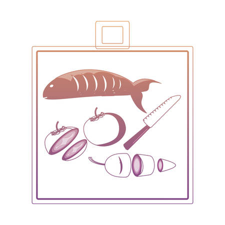 cutting board with preparation of  fish and vegetables  icon over white background vector illustration
