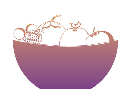 bowl with healthy fruits over white background colorful design vector illustration