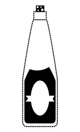 wine bottle icon over white background vector illustration Çizim