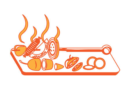 Dish with skewer with grilled food and vegetables icon over white background colorful design vector illustration Illustration
