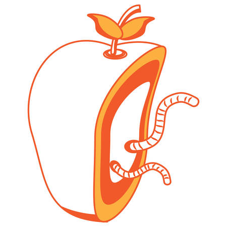 Apple cut in half with a worm icon over white background vector illustration Illustration