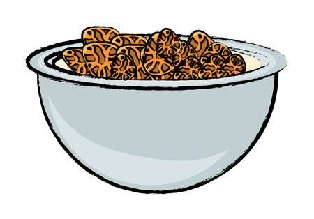 Bowl with cereal icon over white background colorful design vector illustration. Vettoriali