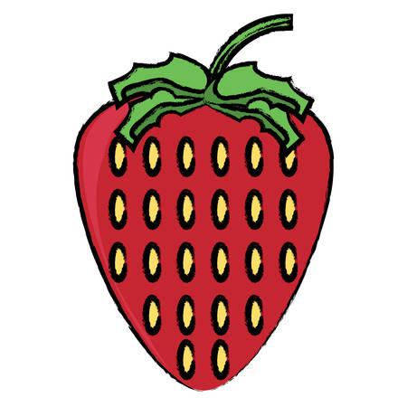 Strawberry fruit icon over white background colorful design vector illustration Illustration
