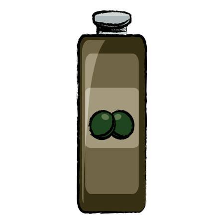 Olive oil bottle icon over white background. Colorful design vector illustration.