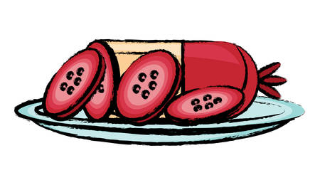 Dish with salami sausage icon over white background illustration.