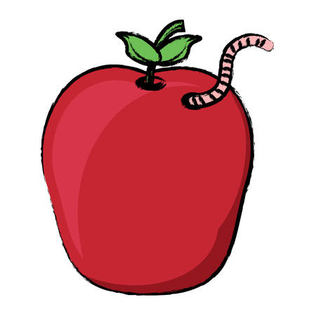 Apple with a worm icon over white background vector illustration Illustration