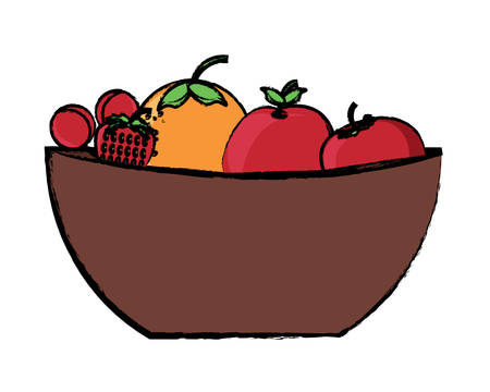 Bowl with healthy fruits over white background colorful design vector illustration Illustration