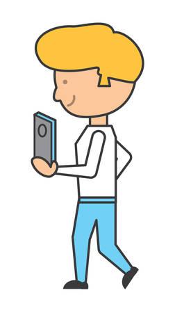 Cartoon man holding  a smartphone icon