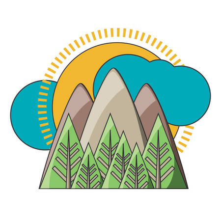 mountains landscape with sun and clouds icon over white background colorful design vector illustration Illustration