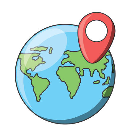 World map sphere icon.